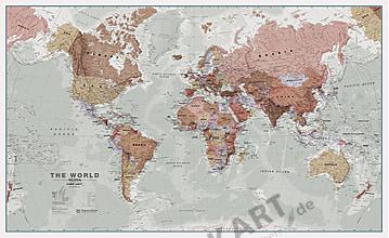 World Map political executive english 136 x 84cm