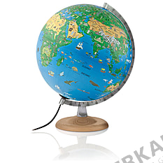 Children's globe 30cm with light and solid wooden base