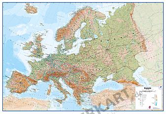 Europa kort fysisk engelsk XXL 260 x 190cm