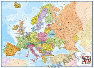 Europa kort politisk engelsk XXL 260 x 190cm