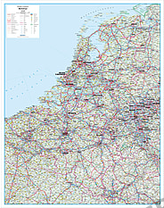 Straßenkarte Benelux 95 x 121cm