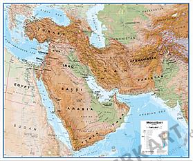 Mellemøsten Kort fysisk 120 x 100cm