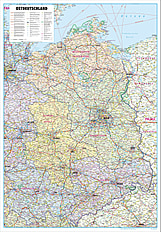 Road Map of East Germany 90 x 130cm