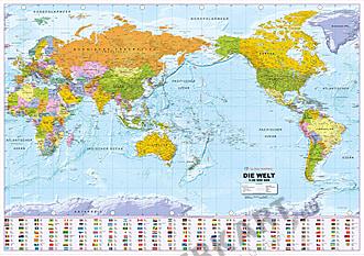 Politische Weltkarte Pazifik zentriert mit Flaggen deutsch 135 x 95cm