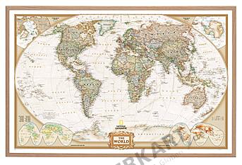 Weltkarte Executiv auf Kork Pinnwand 90 x 60cm