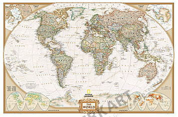 World Map Executive Political in historical style 88 x 58cm