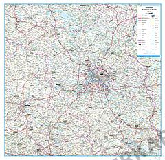 Roadmap Germany State Brandenburg Berlin 108 x 105cm
