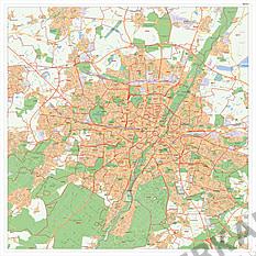 Stadtplan München mit Postleitzahlen 100 x 100cm