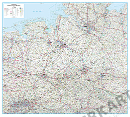 Road map Germany Lower Saxony and Bremen 125 x 112cm