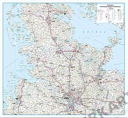Straßenkarte Deutschland Schleswig Holstein und Hamburg 115 x 106