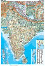 Indien physikalische Landkarte 86 x 125cm