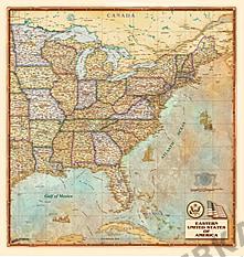 Østlige USA Kort antik 100 x 105cm