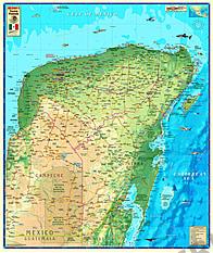 Yucatán-Halvøen Kort 85 x 100cm