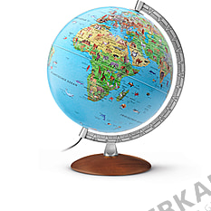Children illuminated globe with wooden base and metal Meridian