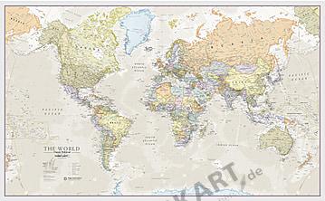 World Map political classic english 136 x 84cm