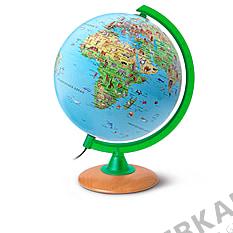 Children illuminated globe with green Meridian