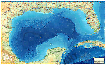 Gulf of Mexico Map 110 x 70cm