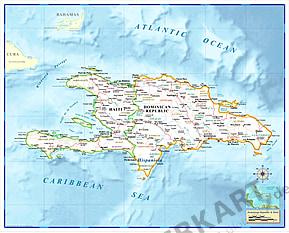 Haiti / Den Dominikanske Republik Kort 112 x 90cm