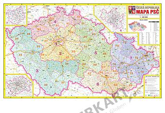 Czech Republic Postcode Wall Map
