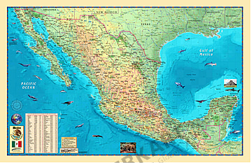 Mexico physical Wall Map 135 x 87cm