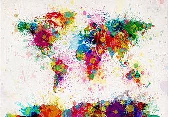 World Map Paint Splashes 90 x 60cm