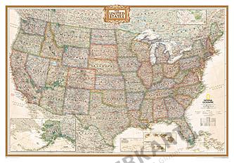 USA Vægkort Antik