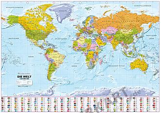 Politische Weltkarte mit Flaggen 1:30 Mio deutsch