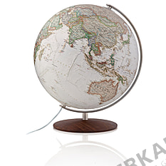 Antique illuminated globe 37cm with wooden base by National Geographic