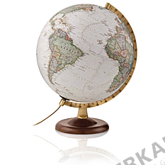 Illuminated globe 30cm antique style, dark brown wooden base from National Geographic