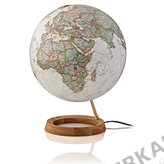 Illuminated globe 30cm antique style and circular wooden base from National Geographic