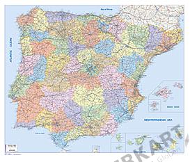 Spanien / Portugal PLZ Karte