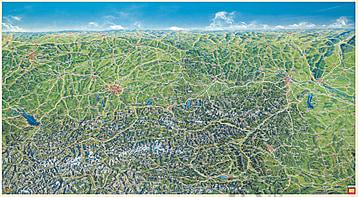 Österreich Panorama Karte 116 x 66cm