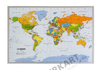 Politische Weltkarte (französisch) als Kork Pinnwand zum Aufhängen