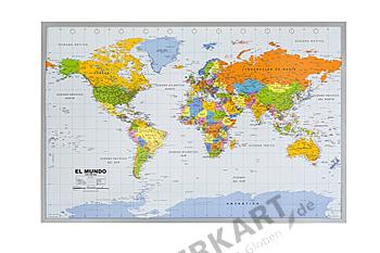 World Map Cork Pinboard - spanish 90 x 60cm
