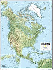 Nordamerika kort fysisk 73 x 91cm