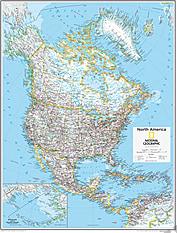 Nordamerika Kort 73 x 91cm