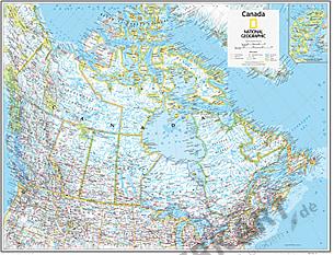 Canada Kort 91 x 73cm