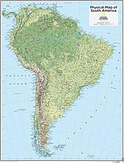 Sydamerika kort fysisk 73 x 91cm