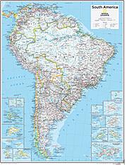 Sydamerika Kort 73 x 91cm