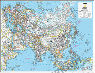 Asien kort 91 x 73cm