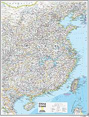 China Coast Wall Map 72 x 92cm
