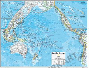 Stillehavet Kort 91 x 73cm
