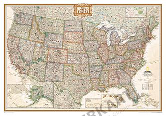 Politisk kort over USA i antik typografi (standardformat) National Geographic