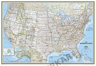 Politisk kort over USA (storformat) National Geographic