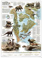 Plakat dinosaurer i Nordamerika kort National Geographic