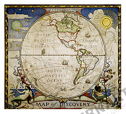 1929 Entdecker Weltkarte - Westliche Hemisphäre 47 x 42cm