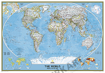 Political World Map in large size from National Geographic