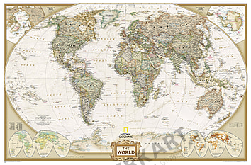 Large size Poster from National Geographic Wall Map in antique tone