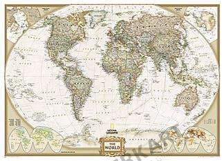 Antikt NGS Executive verdenskort National Geographic (kæmpeformat)