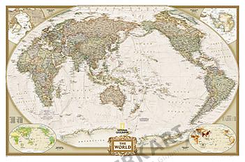 Executive Antik Weltkarte Pazifik Ansicht von National Geographic